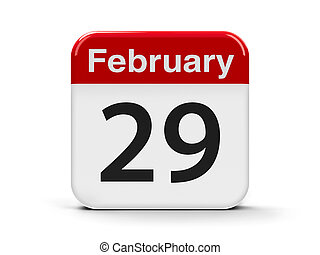 29th February - Calendar web button - The twenty ninth of...