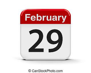 29th February - Calendar web button - The twenty ninth of...