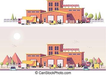 2d, 倉庫, ベクトル, 低い, poly