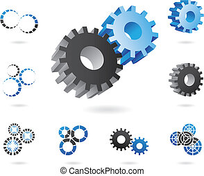 2d and 3d cogs - a set of blue and black cogs in 2d and 3d...