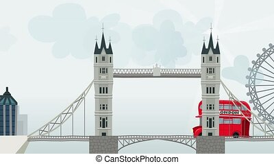 2D animation. Red London bus - 2D animation. London,...