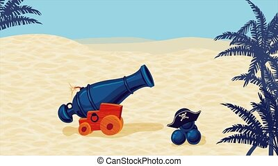 2D animation. Shot of a pirate cannon. Just drop the .mov...