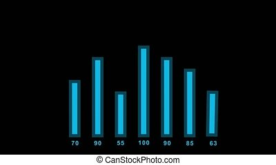 2d bar chart. Black background - 2d bar chart infographics...