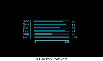 2d bar chart infographics blue. Black background