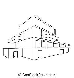 2d, dom, perspektywa, rysunek