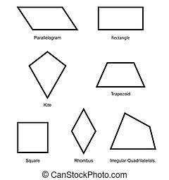 2d, forma, ilustración, plano de fondo, aislado, conjunto, ...