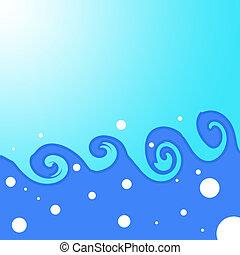 2D Graphic Wave Illustration - 2d White, Blue, Aqua graphic...
