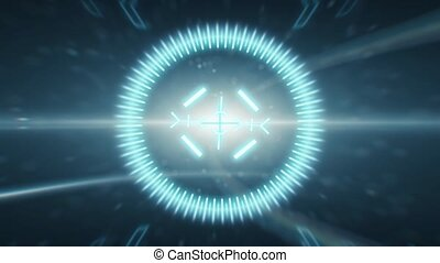 2D HUD animation of a target with a background of anamorphic...