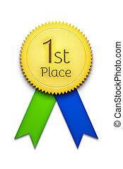 first place award ribbon badge