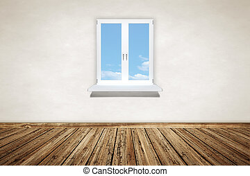 empty wooden room with a window