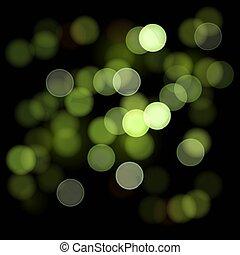 Bokeh - 2D Illustration of Bokeh on Dark Green Background. ...