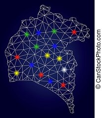 2D Mesh Vector Huelva Province Map with Bright Light Spots