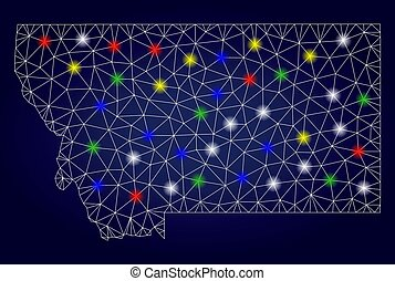 2D Mesh Vector Montana State Map with Bright Glowing Spots