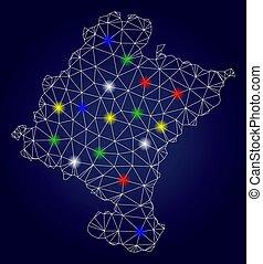 2D Mesh Vector Navarra Province Map with Color Light Spots -...
