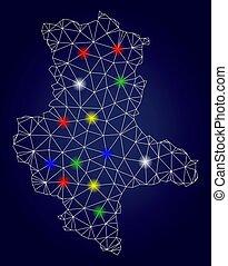 2D Mesh Vector Saxony-Anhalt Land Map with Bright Light Spots