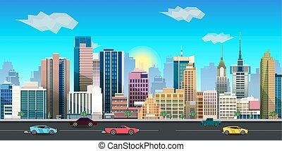 2d, plano de fondo, juego, vector, ciudad, application., ...