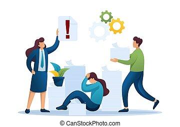 2d, stressante, lavoro, situazione, character., disegno, concetto, appartamento, reports., numero, ufficio, grande, web, depressione