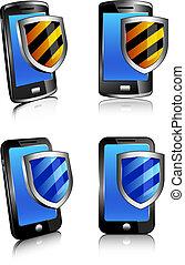 2d, téléphone, bouclier, antivirus, 3d