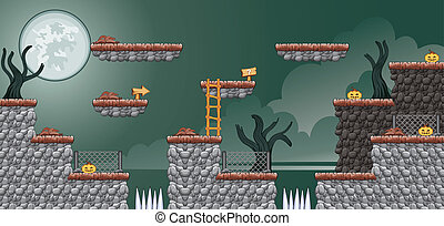 Tile set Platform for Game - A set of vector game asset, contains ground tiles and several items / objects / decorations, used for creating mobile games