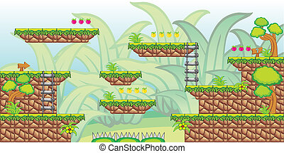 2D Tileset Platform Game 27 - Tile set Platform for Game - A...