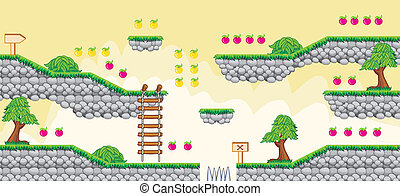 2D Tileset Platform Game 6 - Tile set Platform for Game - A...