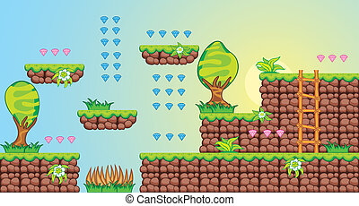 2D Tileset Platform Game 7 - Tile set Platform for Game - A...