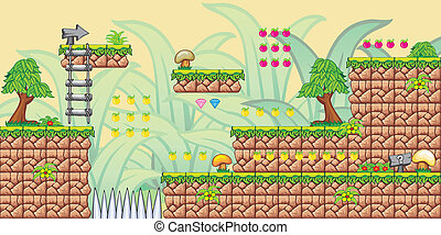 2D Tileset Platform Game 8 - Tile set Platform for Game - A...