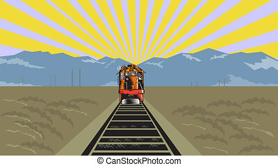 2d video footage animation of a diesel train on railroad coming up traveling with mountains done in retro woodcut style.