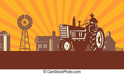 vintage farm tractor in farm field