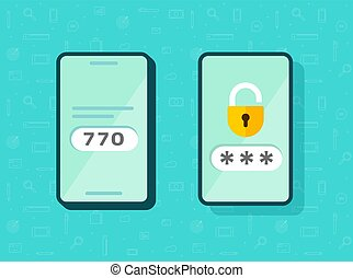 2fa icon password secure login authentication verification vector or sms push code messages symbol on smartphone mobile phone flat isolated pictogram, two factor or multi factor cellphone access idea