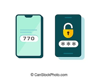 2fa icon vector password secure login authentication verification flat cartoon or sms push code messages symbol on smartphone mobile phone isolated pictogram, two factor or multi factor cellphone