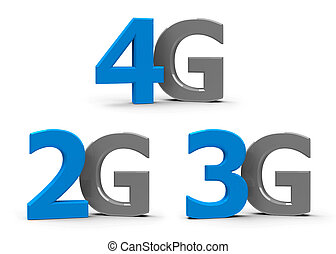 2G 3G 4G icons - Blue and grey 4g, 3g, 2g symbols, icons or...