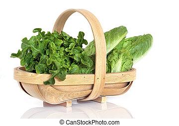 2.Lettuce Varieties in Rustic Wooden Basket