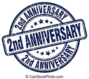 2nd anniversary blue grunge stamp