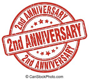 2nd anniversary red grunge stamp