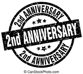 2nd anniversary round grunge black stamp