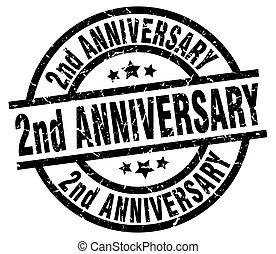 2nd anniversary round grunge black stamp