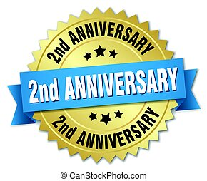 2nd anniversary round isolated gold badge