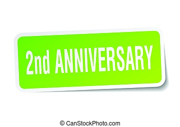 2nd anniversary square sticker on white