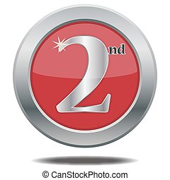 2nd Place Silver Icon - A 2nd place silver icon isolated on...