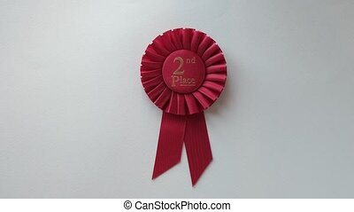 2nd Place winner Rosette with red ribbon
