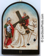 2nd Stations of the Cross, Jesus is given his cross