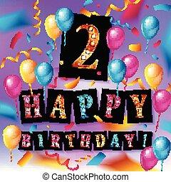 2th Birthday Celebration greeting card Design