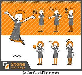 2tone type Bob hair dress woman_set 01