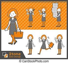 2tone type Bob hair dress woman_set 02