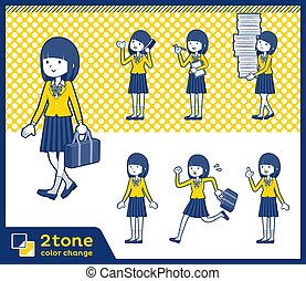 2tone type school girl Blazer