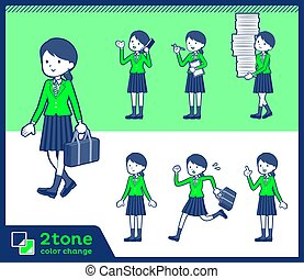 2tone type school girl green Blazer_set 02