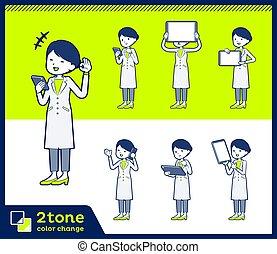 2tone type White coat women