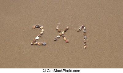 2x1 on sand beach