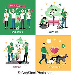 2x2, concepto, diseño, voluntarios